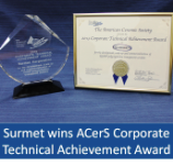 Surmet wins ACerS Corporate Technical Achievement Award
