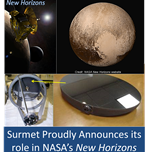 Surmet Proudly Announces its role in NASA's New Horizons mission